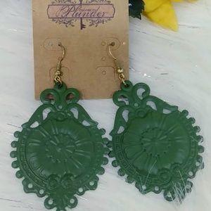 Plunder Design Earrings  Metal  Green  Large Medal